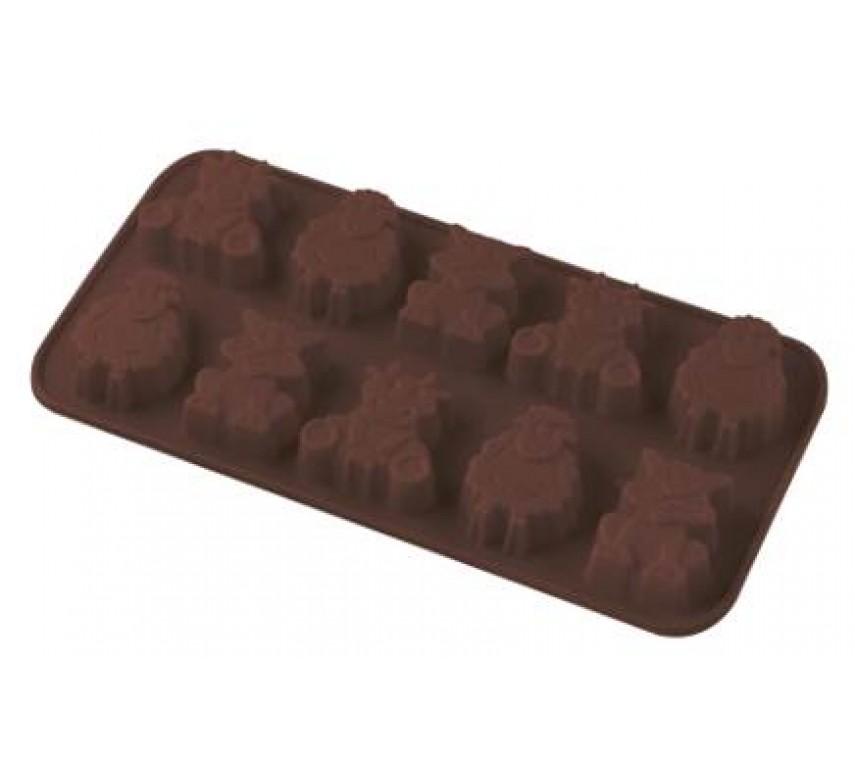 Chokoladeform i silikone, 10 stk Bondegårdsdyr, Dr. Oetker