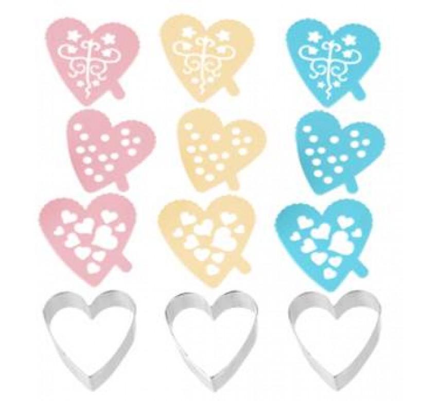 Udstikker hjerter med 3 deko skabeloner