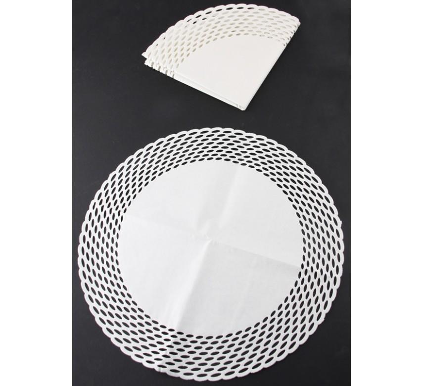Kage- /tærtepapir, rund, hvid, 15 stk.