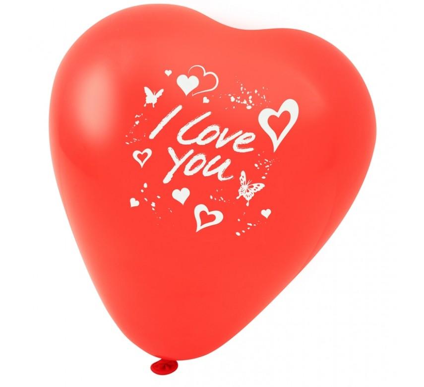 "Hjerteballon "" I LOVE YOU "" 5 stk. ca. 25 cm"