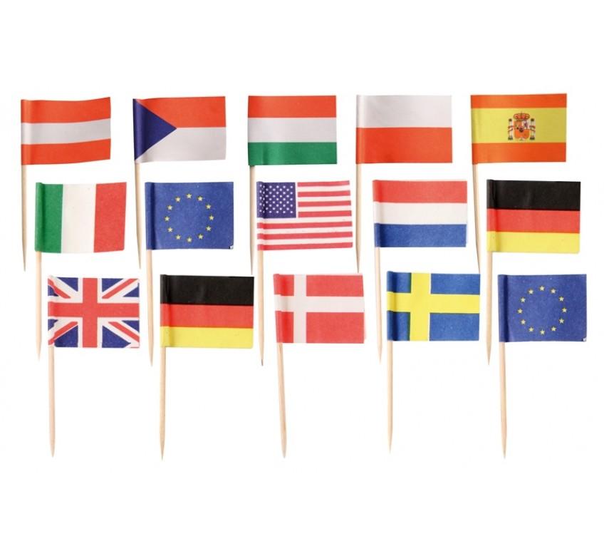 Nationalflag ass. 7 cm 100stk