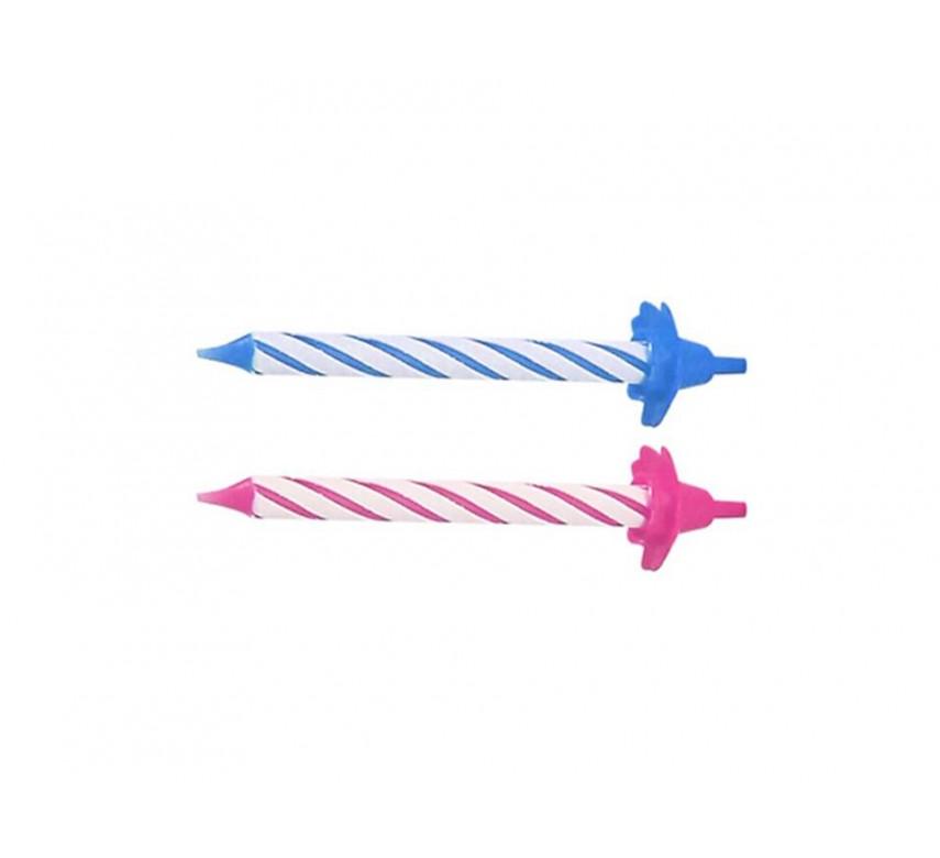 Lagkagelys, 12 store og kraftige lys med holdere, 85 mm., rosa / blå