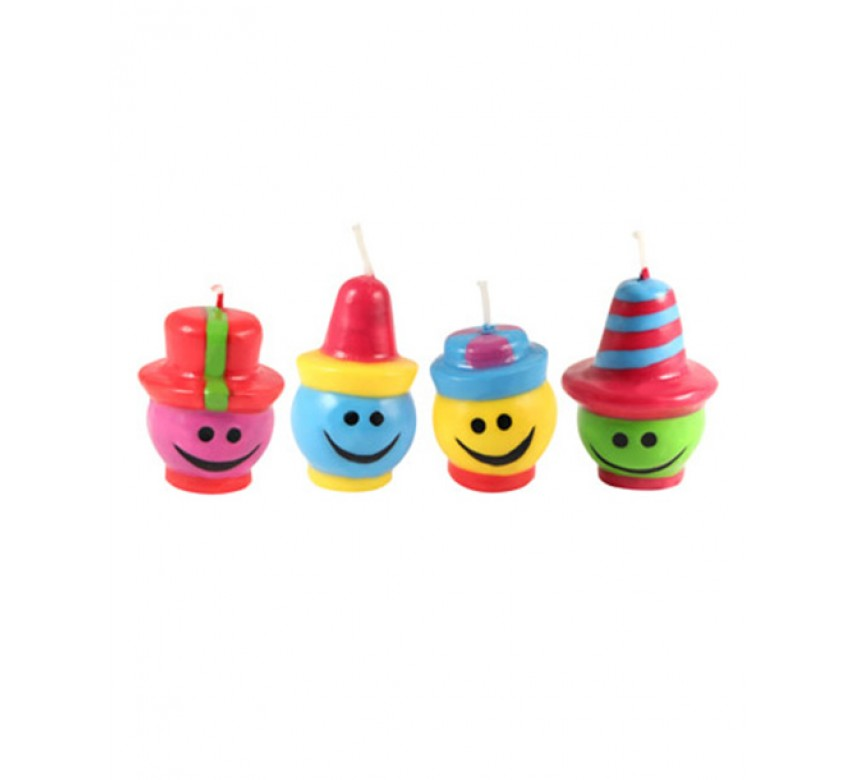 Lagkagelys glade hoveder med forskellige hatte ø 30mm x 50mm