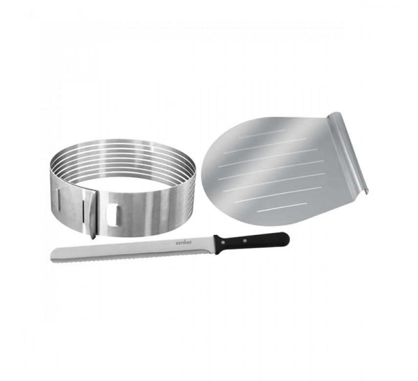 Sæt med lagkage-bunddeler, kageflytter og konditor/glasurkniv, Zenker