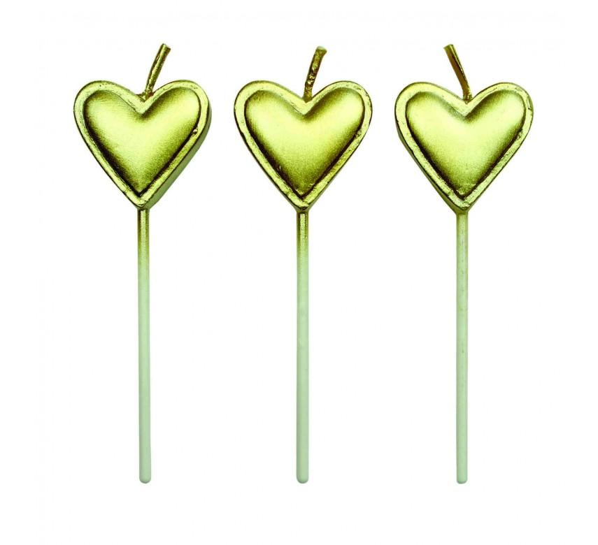 Kagelys, guld hjerte, 8 stk.