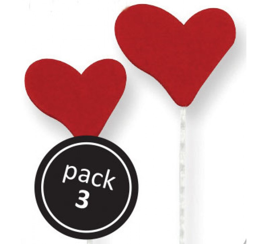 Red Heart (2S, 1L) on Plastic Wire (3/Pk)