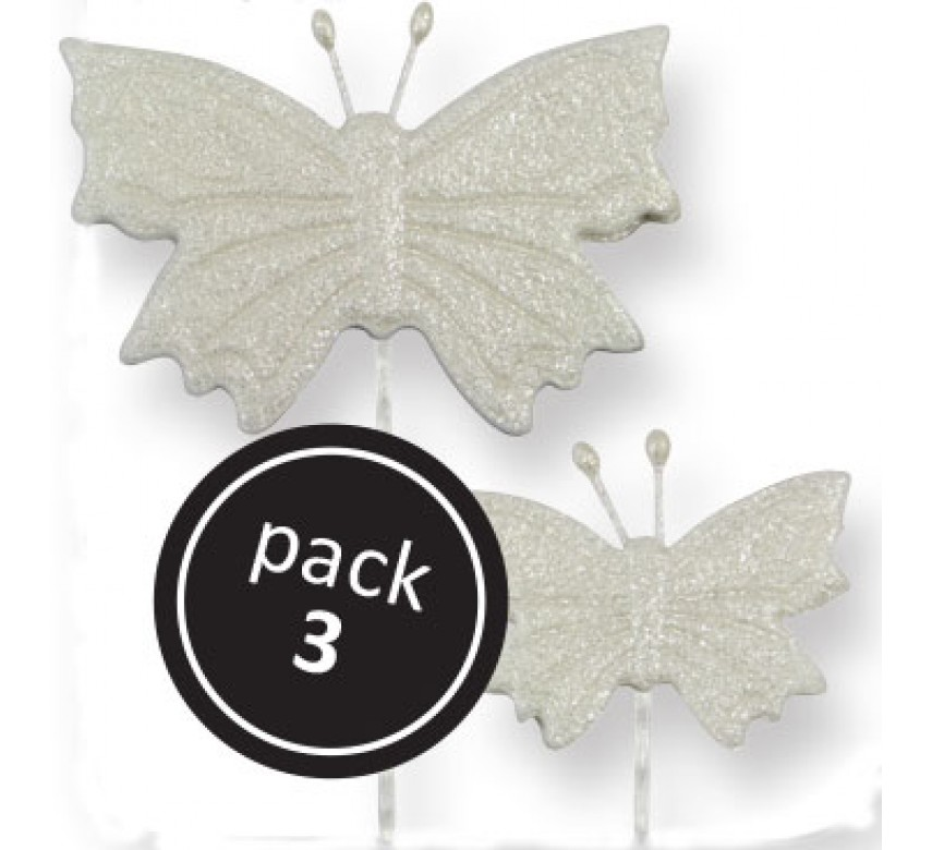 Pearl Butterfly (2S, 1L) on Plastic Wire (3/Pk)