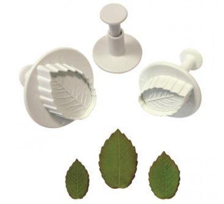 Veined Rose Leaf Plunger Cutters Set/3