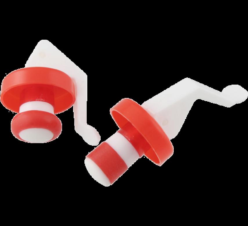 Flaskehætte, 2 stk. rød / hvid
