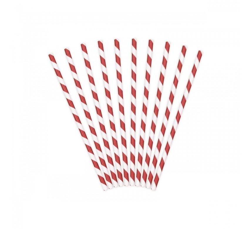 Sugerør, i papir rød/hvid, 50 stk, Fackelmann