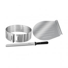 Sæt med lagkage-bunddeler, kageflytter og konditor/glasurkniv, Zenker-20