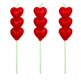 Kagelys, rødt hjerte, 8 stk.-20