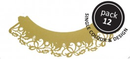 Gold Holly Cupcake pyntebort Pk/12-20