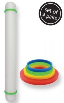 Gummiringe til rullepind i sæt med 4 størrelser fra PME.-20