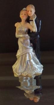 Topfigur. Sølvbryllupspar. 9,5 cm
