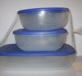 Plastbokse med blåt låg. 9 stk.-20