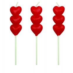 Kagelys, rødt hjerte, 8 stk.
