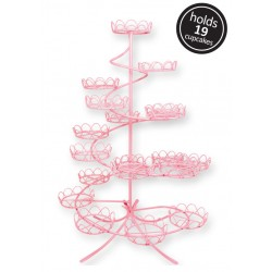 Pink Coated Wire Cupcake Stand (Holds 19)
