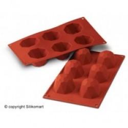 Bage-/Chokoladeform, Diamant, 6 stk. Ø 62 mm., D 45, Platinsilikone
